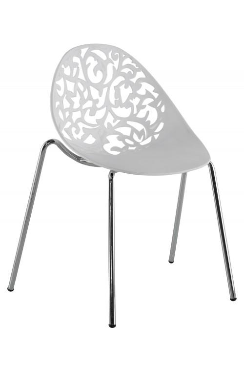 Modne nowoczesne ażurowe krzesła skandynawskie 505 - białe