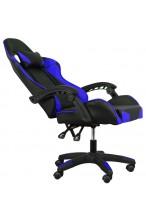 Fotel buirowy gamingowy skórzany kubełkowy FORMULA - YN - czarno - niebieski