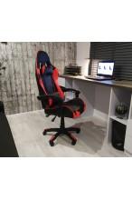 Fotel buirowy gamingowy skórzany kubełkowy FORMULA - YN - czarno - pomarańczowy