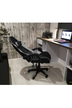 Fotel buirowy gamingowy skórzany kubełkowy FORMULA - YN - czarno - szary