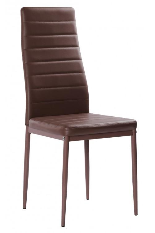 Nowoczesne skórzane krzesła pikowane - 258 - brązowe