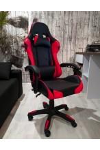 Fotel buirowy gamingowy skórzany kubełkowy FORMULA - YC - czarno - czerwony