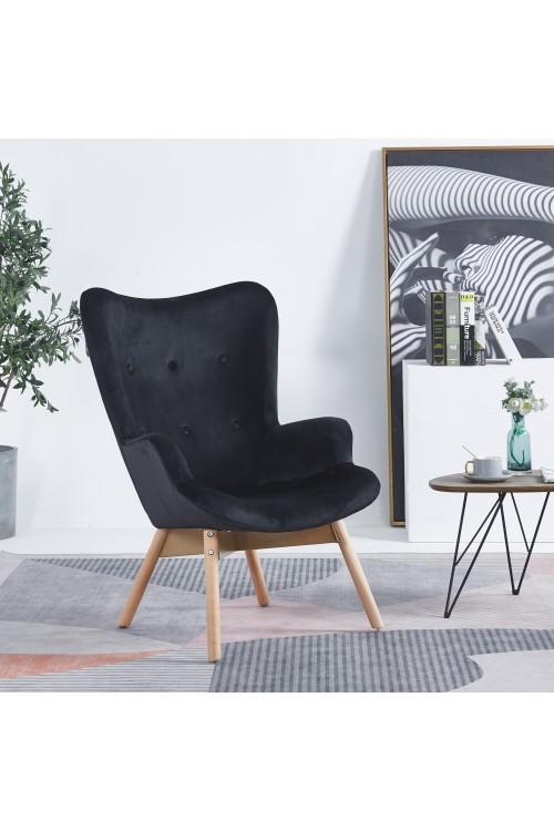 Fotel tradycyjny welurowy z drewnianymi nogami - uszak - czarny