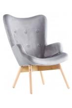 Fotel tradycyjny welurowy z drewnianymi nogami - uszak - szary