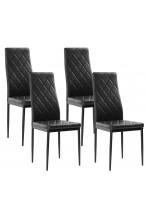 Nowoczesne skórzane krzesła pikowane - 258A - czarne