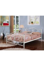 Nowoczesne metalowe łóżko ze stelażem 140x200 - białe z kryształami