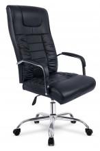 Fotel biurowy skórzany profilowany BS002 - czarny