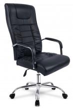 Fotel biurowy skórzany profilowany BF002 - czarny