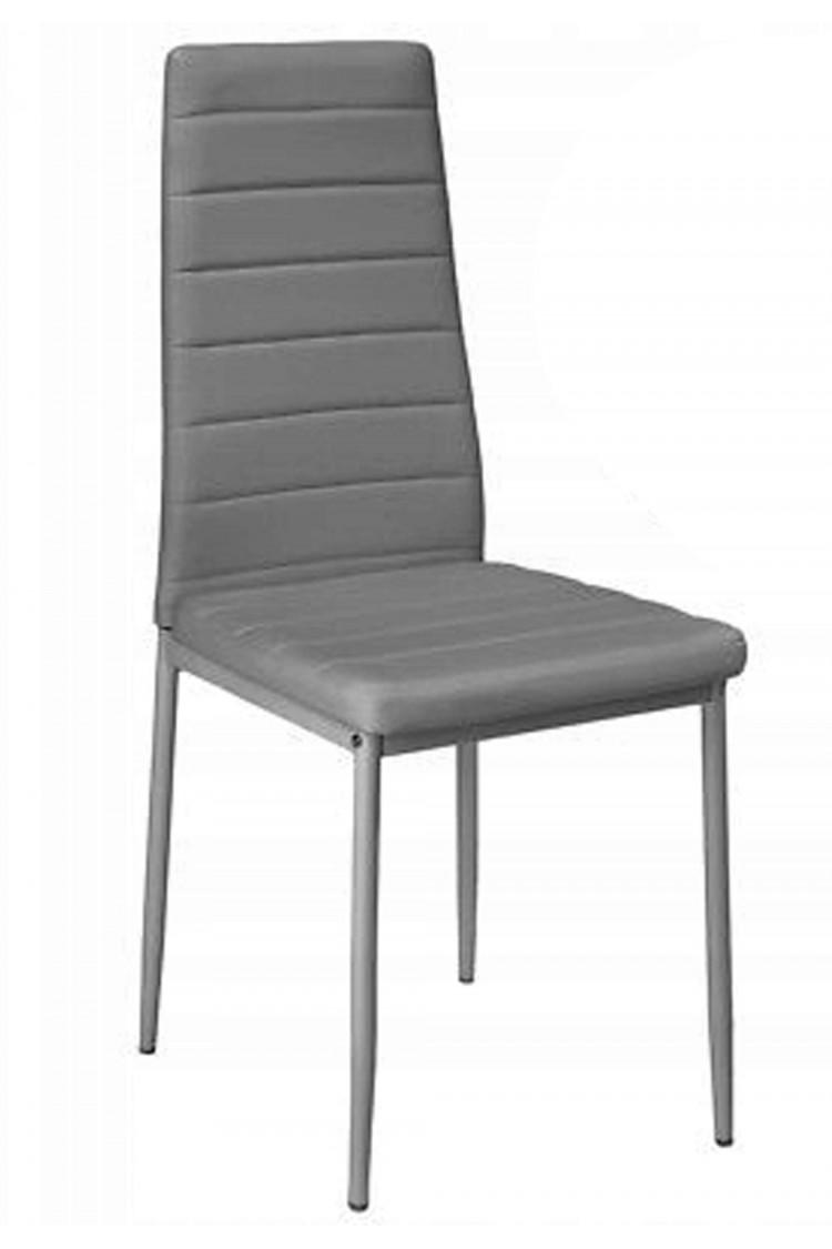 Nowoczesne skórzane krzesła pikowane - 258 - szare