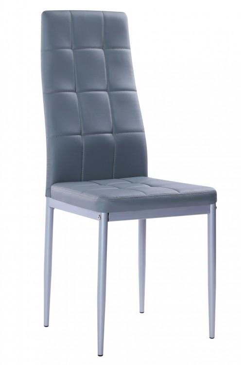 Nowoczesne skórzane krzesła pikowane - 258R - szare