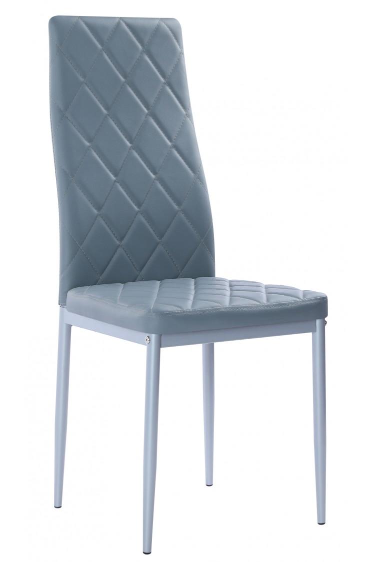 Nowoczesne skórzane krzesła pikowane - 258A - szare
