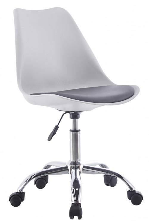Nowoczesny fotel biurowy z poduszką - na kółkach, obrotowy - biały