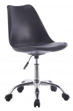 Nowoczesny fotel biurowy z poduszką - na kółkach, obrotowy - czarny