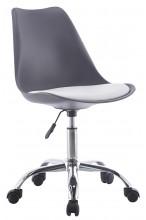 Nowoczesny fotel biurowy z poduszką - na kółkach, obrotowy - grafitowy
