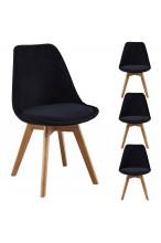 Nowoczesne krzesła Tapicerowane skandynawskie WELUROWE - szare