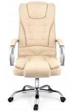 Fotel biurowy skórzany profilowany ELEGANCKI - BF94 - beżowy